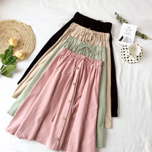 Summer Skirts Womens Midi Knee Length  Elegant Button High Waist Skirt Female Pleated School Skirt