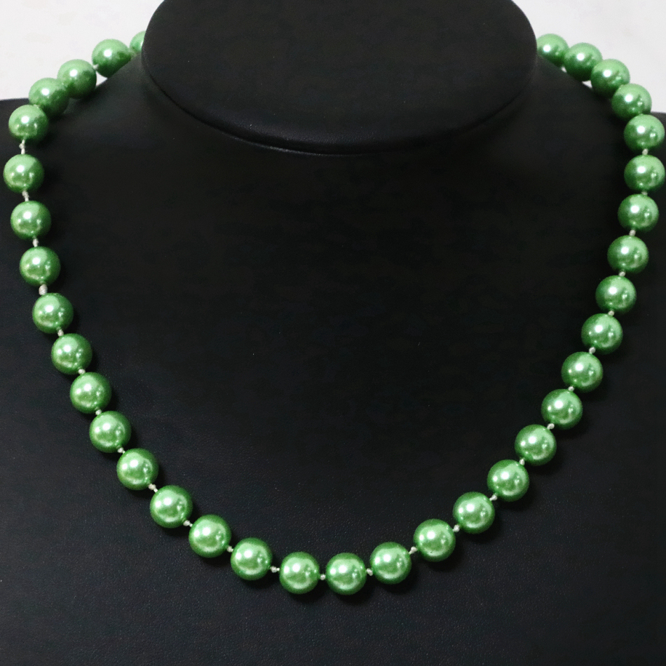 Green shell simulated-pearl round beads necklace for women 8,10,12,14mm factory price hot sale chains jewelry 18inch B1645