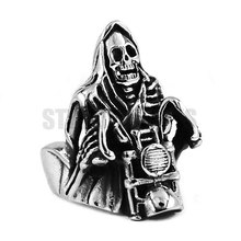 Grim Reaper Skull Ride Motorcycle Ring Stainless Steel Jewelry Vintage Heavy Skull Motor Biker Ring for Men SWR0446A