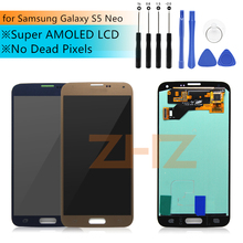 Super AMOLED LCD สำหรับ Samsung Galaxy S5 Neo G903 G903F จอแสดงผล LCD หน้าจอสัมผัสแผงเปลี่ยนซ่อมอะไหล่