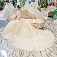LSGT906 casamento wedding dress beading ball gown short sleeves lace o neck lace up flowers backless cathedral train real photos