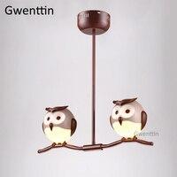 Animal Owl Pendant Light Fixtures Led Modern Hanging Lamp for Children's Room Bedroom Lamp Loft Industrial Luminaire Home Decor