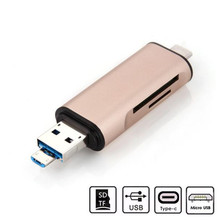 Advanced 2017 New Computer Accessories 3in1 USB3.0 + USB 3.1 Type C TF MS Card Reader Adapter For 12 Macbook(China)