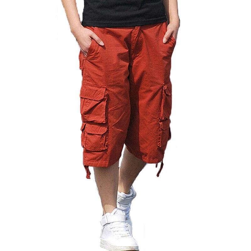 Mens Leisure Cargo Pants Solid Cotton Knee Length Loose Comfortable Jogger Trousers Mens Summer Short for Male pantalon hombre