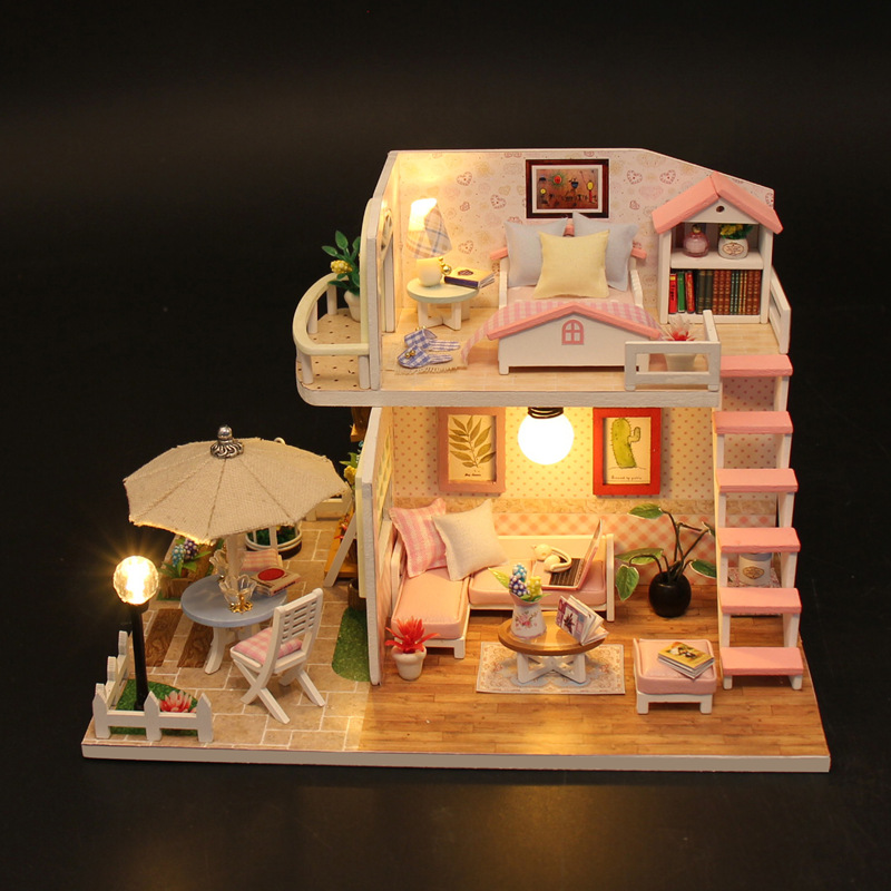 New Doll House Toy Miniature Wooden Doll House Loft With: 2018 NEW Diy Miniature Wooden Doll House Furniture Kits