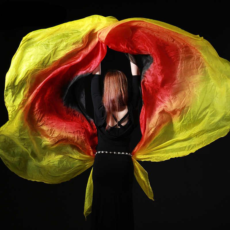 Women Belly Dance Silk Costume Colourful Shawl Veil Scarfs Gradient Color UK