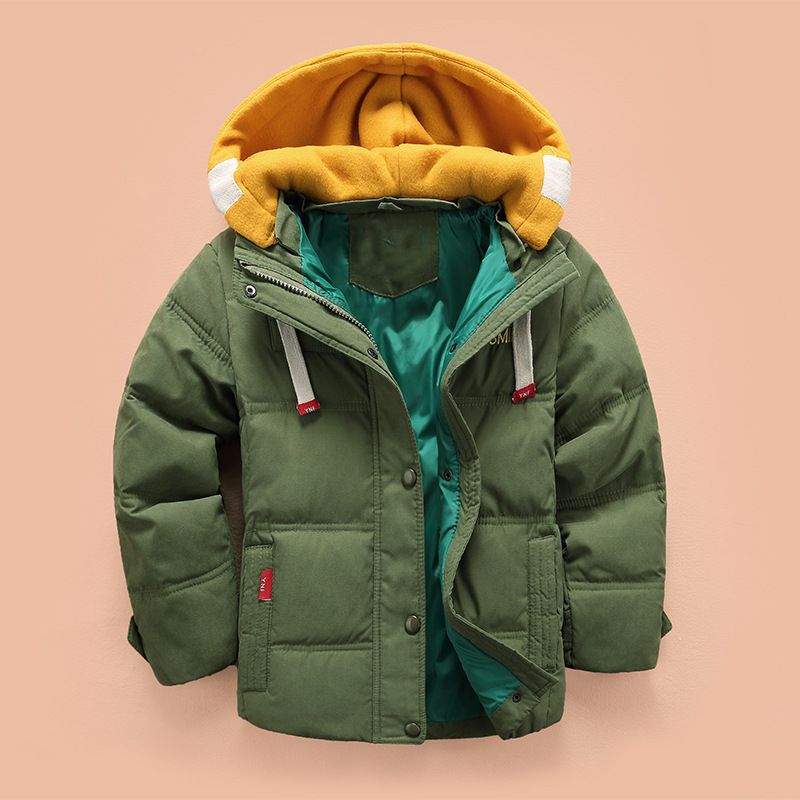 children Down & Parkas 4-10T winter kids outerwear boys casual warm hooded jacket for boys solid boys warm coats 2021 3