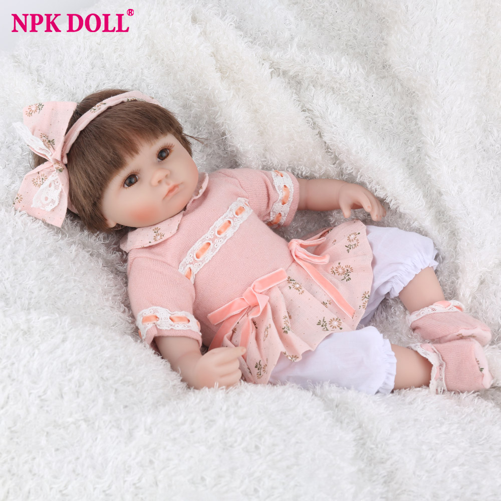 45cm NPK DOLL Reborn Baby Dolls Lifelike Newborn Girl 16 inch Cartoon Kids Playmate Christmas Gift