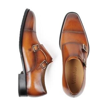 мужские коричневые ботинки | VIKEDUO/коричневые Свадебные модельные туфли для мужчин; кожаные туфли с натуральным лицевым покрытием на заказ с двойным ремешком; Мужская об...