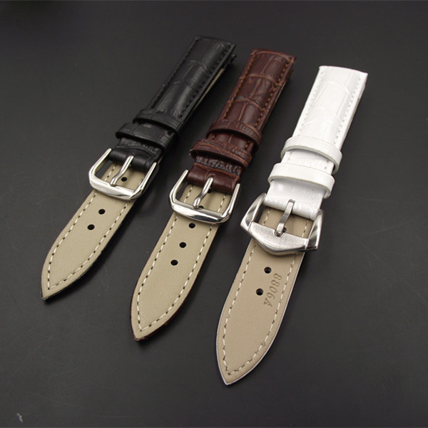 1PCS High quality 18MM 19MM 20MM 22MM 24MM genuine cow leather Watch band watch strap coffee,black,white color eache 20mm 22mm 24mm 26mm genuine leather watch band crazy horse leather strap for p watch hand made with black buckles