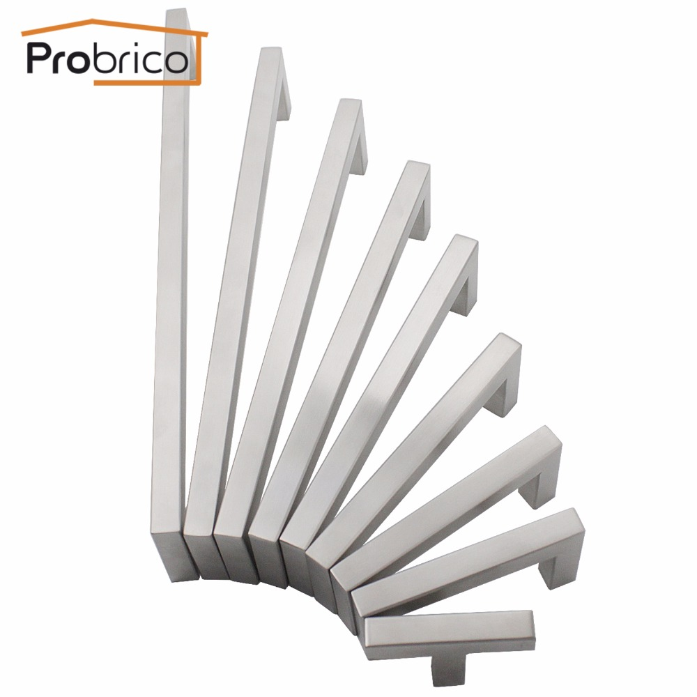 Probrico 10mm Square Bar Kitchen Door Drawer Cupboard Hardware Cabinet Pulls Stainless Steel Knobs And Handles For Furniture