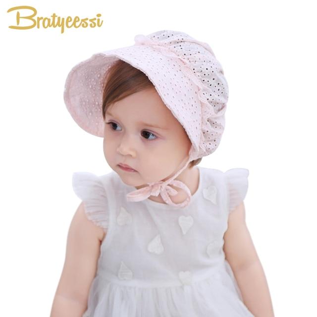 331bda0aa53 Princess Baby Girl Hat Summer Lace-up Cotton Baby Bonnet Enfant Lace Sun Cap  for