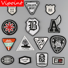 VIPOINT embroidery printed warning patches letter alphabet badges applique for clothing YM-3