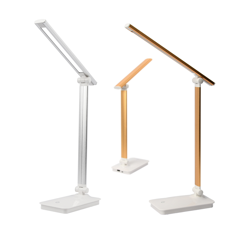 LED Desk Lamp Eye-caring Table Lamps Dimmable Office Lamp with USB Charging Port 3 Brightness Levels Touch Control White 5W