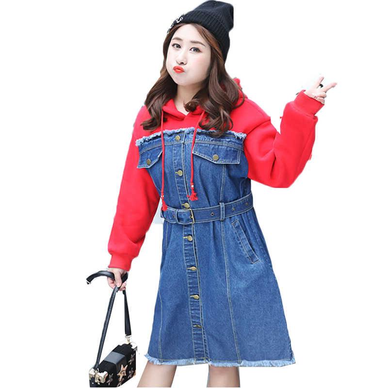 Плюс размер 2019 джинсовое, в Корейском стиле лоскутное с капюшоном красное платье 65-110 кг женские джинсы большого размера свитер толстовки платье Vestidos