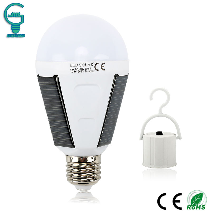 Rechargeable Solar Bulb 7W 12W 85V-265V LED Solar Lamp E27 Waterproof Outdoor Solar Light Emergency Camping Hiking Fishing Light