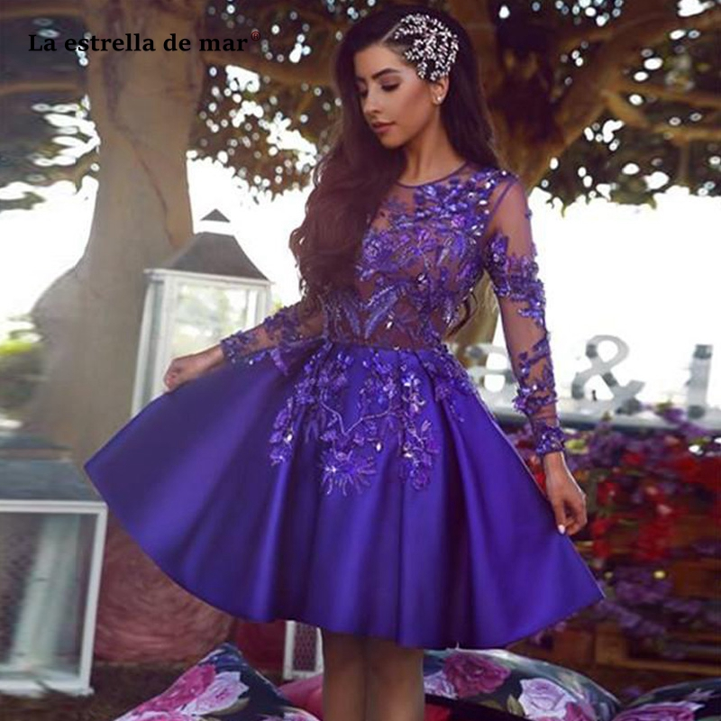 Purple Short   Cocktail     Dresses   Long Sleeves Appliqued Formal Evening Gowns Party   Dresses   For Special Occasion Prom Gown
