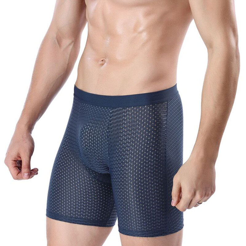 Men BoxersSummer Thin Long Underwear Short Boxer Breathable Shorts Mens Boxers Underpants Hombres Boxeador Big Size XXXXL