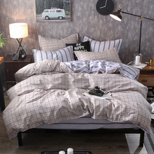 Gray Plaid and Strip Patchwork AB Side luxury king comforter cover set christmas bed sheets linen for men