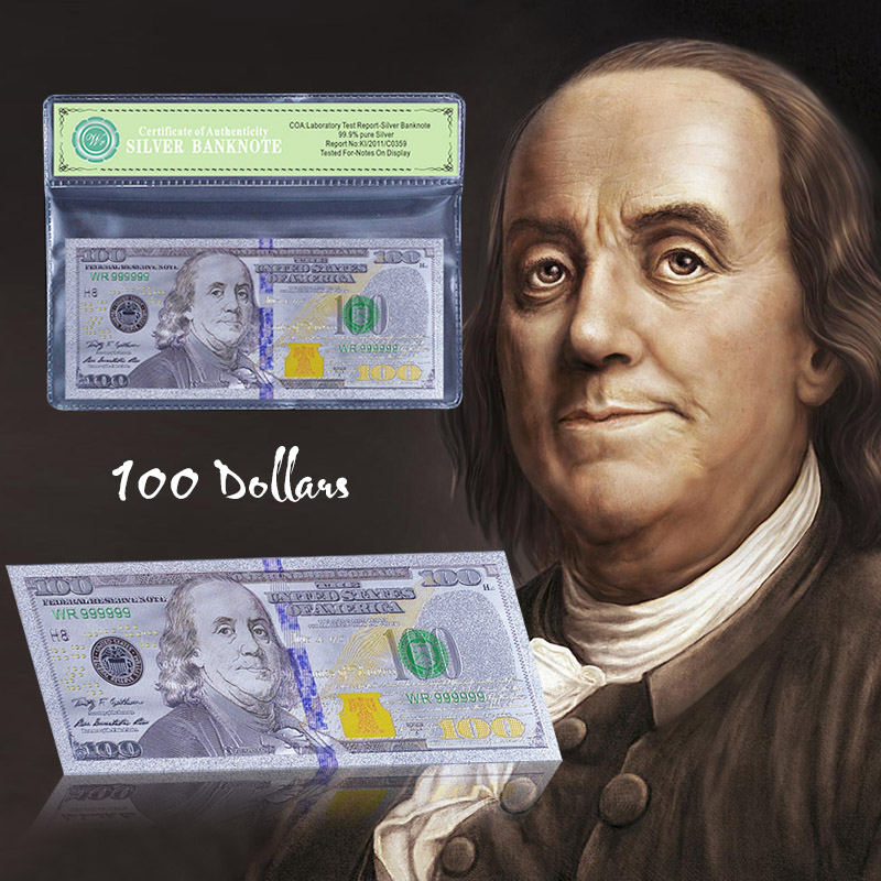 Colored Silver Plated America Banknote New 100 Dollar Bill Currency Fake Money for Collection Gift