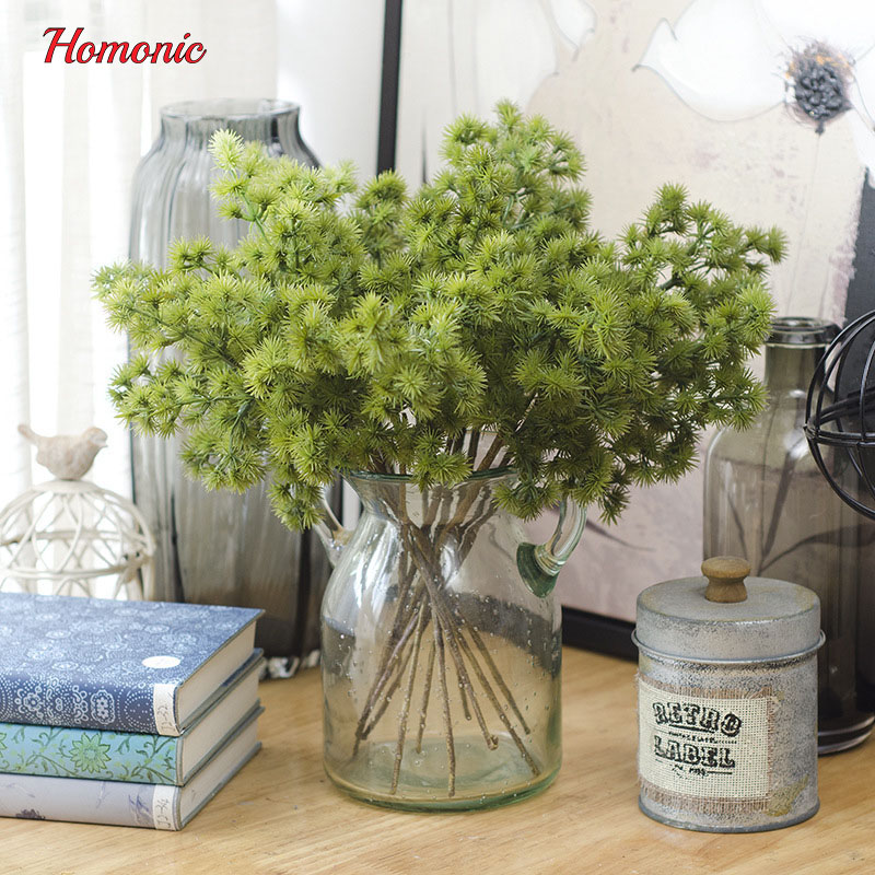 10PC artificial pine tree branches mini pine needle artificial plants foliage DIY hair f ...