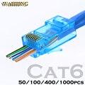 RJ45 conector cat5e Cat6 conector de red 8P8C sin apantallar modular rj45 tapones utp terminales tienen agujero HY1525