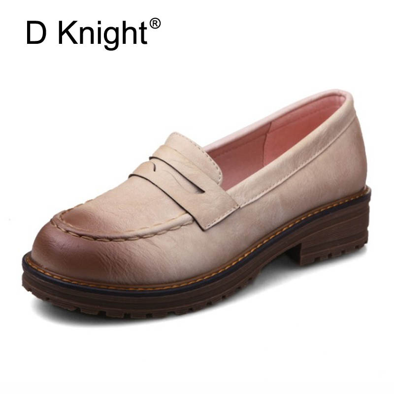 British Style Loafers Ladies Casual Leather Shoes Woman 2018 Slip On Women Flats Oxfords Platform Shoes Plus Size 32-43 6 Colors akexiya casual women loafers platform breathable slip on flats shoes woman floral lace ladies flat canvas shoes size plus 35 43