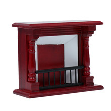 1:12 Mini House Miniature Furniture Red Wood Fireplace Mini House Decor Adorable Model Toy Furniture Ornament Party Gift(China)
