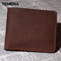 Temena New Sale Genuine Leather Vintage Men Vertical Style Cow Leather Men Wallet Men Designer Carteira