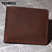 Temena New Sale Genuine Leather Vintage Men Vertical Style Cow Leather Men Wallet Men Designer Carteira