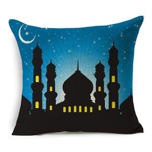 Image 4 - Ramadan Decoration Cushion Cover Ramadan Kareem Blessed Eid Mubarak Moon Mosque Linen Decorative Cushions Pillows for sofa 40253