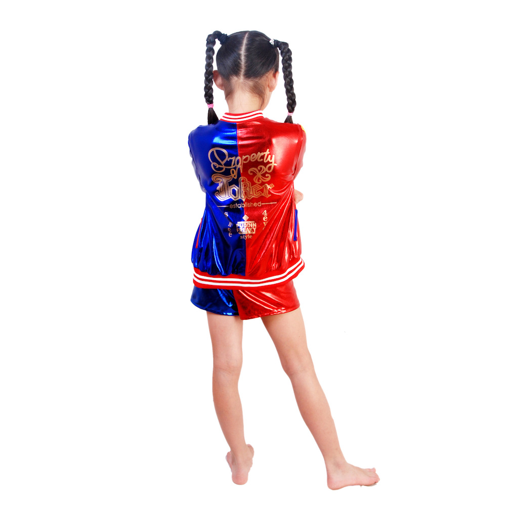 Halloween batman suicide squad cosplay costumes for kids harley quinn carnival costume printed jacket+t shirt+shorts-1
