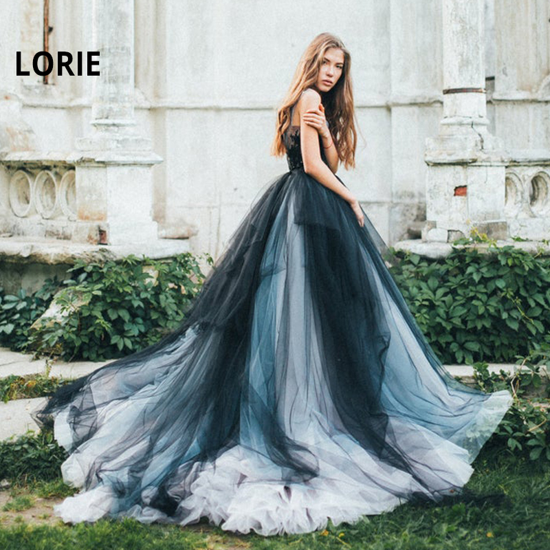 LORIE Lace Wedding Dresses 2020 Colorful Tulle Bride Dress Scoop Neck Sleeveless Boho Black Wedding Gown Vestido De Noiva