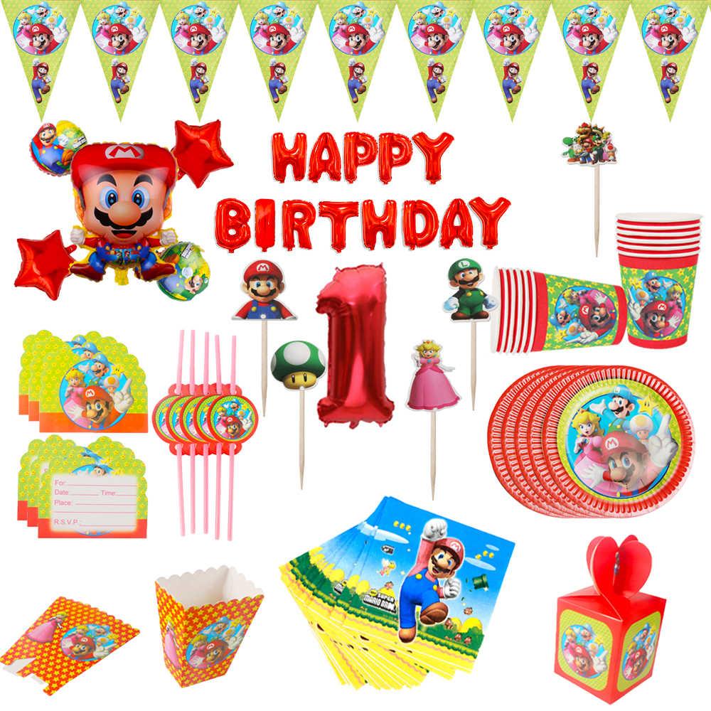 Super Mario ธีมวันเกิด party disposable Tableware ชุดถ้วยจานผ้าเช็ดปาก Cupcake Topper บอลลูน Baby Shower party supplies