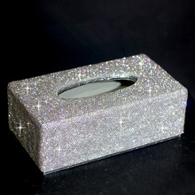 Tissue box holder for car paper decorations Removeable tissue with crystals Home decoration Wedding gifts