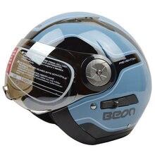 Free shipping BEON B-216 motorcycle helmet half helmet retro dual lens male Ms. fashion seasons helmet / Bright dark blue