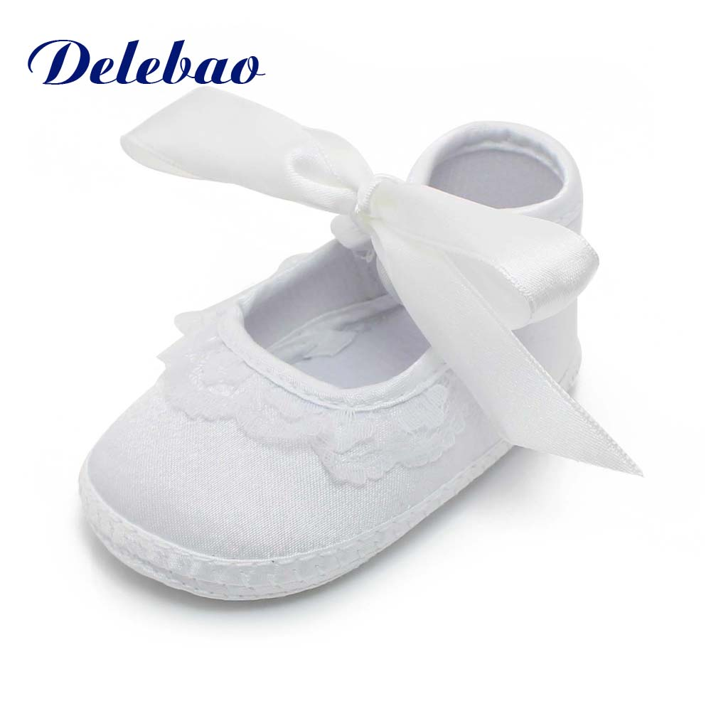 Delebao Pure White Christening & Baptism 0-15 Months Baby Shoes Non-slip Newborn Unique Soft Sole First Walkers