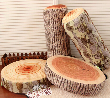 Wholesale Novelty plush tree stump wood Cylindrical soft seat cushion Pillow kids toys free shipping