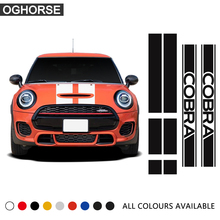 Car Hood Bonnet Roof Rear Trunk Side Skirt Sticker Racing Stripes Body Decal for Mini Cooper Cobra R R50 R53 R56 F56 Accessories