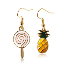 The Japanese Harajuku soft sister cute pineapple lollipop oil drop earrings wish explosion Earrings Jewelry women 2017