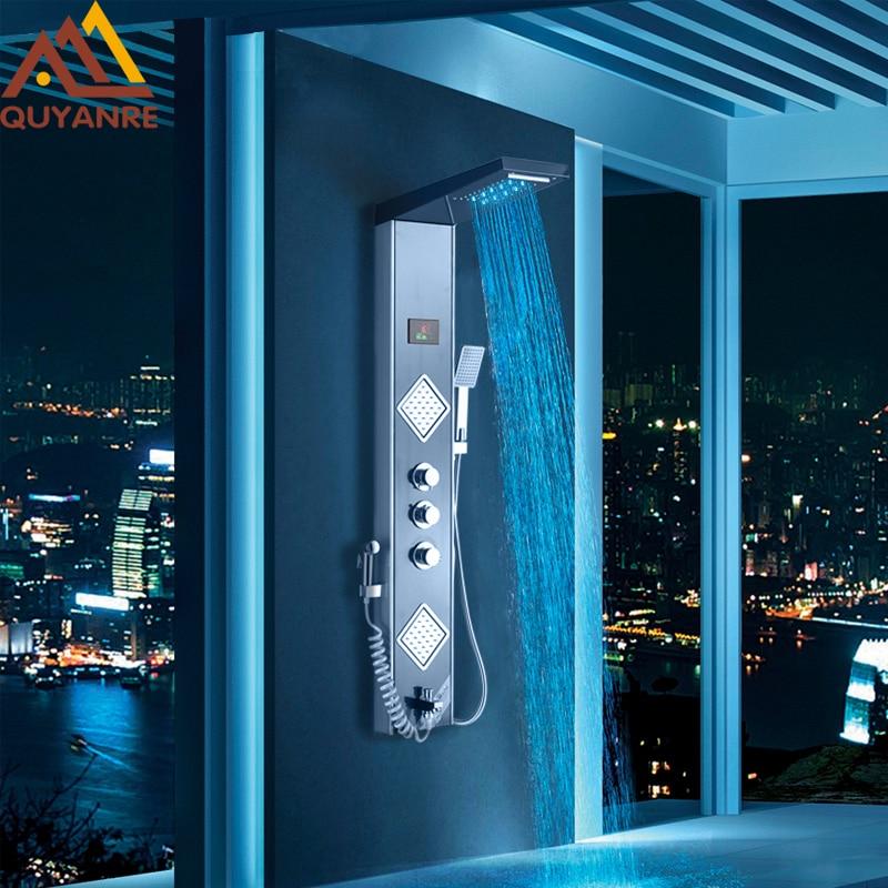 Quyanre Black Grey LED Shower Panel Column Rain Waterfall Shower Head Digital Screen TEMP 3 Handles Mixer Tap Spray Bidet Shower aquapulse 4122b grey black