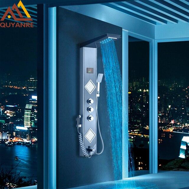 Quyanre Black Grey LED Shower Panel Column Rain Waterfall Shower Head  Digital Screen TEMP 3 Handles