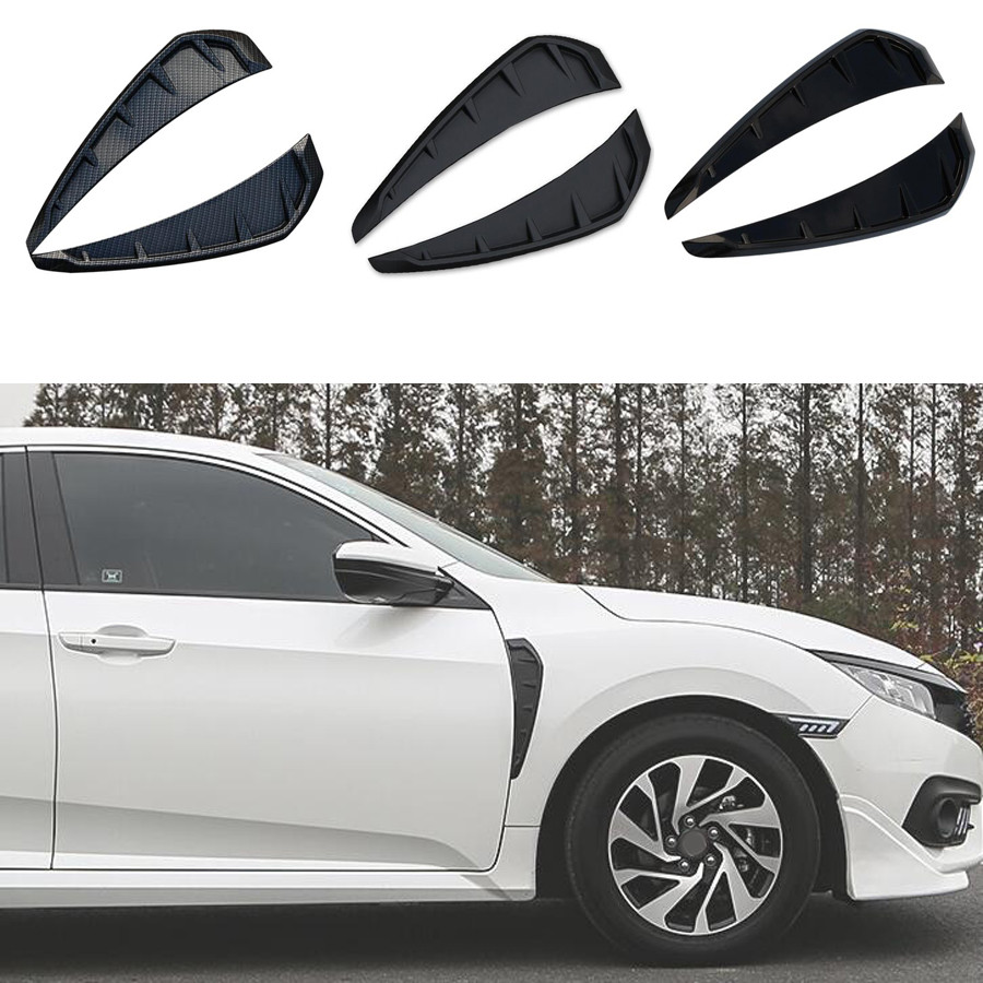 YAQUICKA 2Pcs/set Car Exterior Front Fender Vent Cover Trim Sticker For Honda Civic 10th 2016 2017 ABS Styling Accessories 2pcs chrome car styling exterior abs front