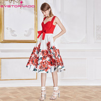 Spaghetti strap V neck sexy tunic top+ floral print ball gown skirt suit casual work office two pieces set women outfits E7825