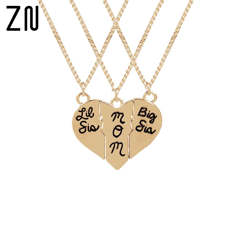 Fashion Jewelry big sis mom Loving Heart Stitching Necklace Gold/Silver Plated Pendants For Women/Mother Gift