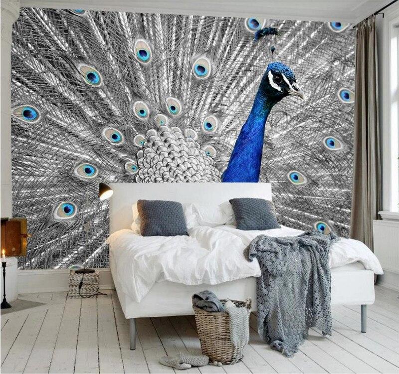 Kustom 3D Wallpaper Modern Sederhana Estetika Biru Peacock Terbuka Latar Belakang Lukisan Dinding Sutra Bahan Tahan