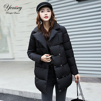 Take Bread In The Long Section Of South Korea Female Cotton Padded Jacket Lapel Loose BF