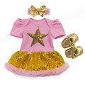 Meninas do bebê Roupas Ouro 3 Peça Definir Romper Do Bebê Tutu Vestido Cabeça Estrela De Lantejoulas Roupa Da Princesa Marca Roupa Do Aniversário Do Bebê