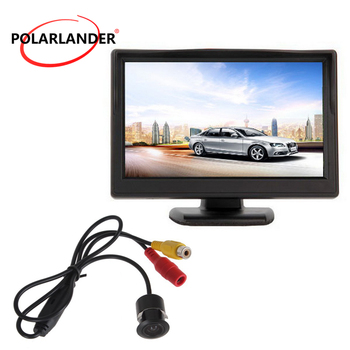 Bus/Car 12-24V 5 Inch TFT Screen Reversing Camera 18.5mm LED Parking Monitor Plug-In Rear Cam Night Vision With Lamp HD Desktop image