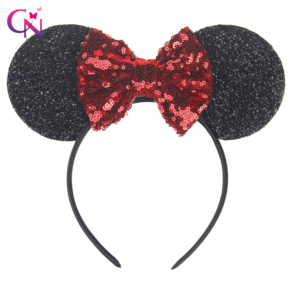 New Fashion Minnie Mouse Ears Hairband With Sequin Hair Bows For Kids Girls Cute Bling Bow Headband Hair Hoop Hair Accessories sequin bow minnie mouse ears headband for kids shiny glitter hair bow hairbands girls photography props hair accessories
